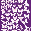 Pink butterfly silhouettes collection — Stock Vector