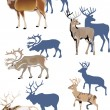 Horned animals with shadows — Stock Vector #6415981