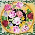 Rose flower decoration in green frame — Stock Vector