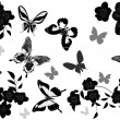 Gray and black butterflies above flowers — Stock Vector #6416003