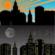 Stock Vector: Night and day city illustration