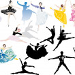 Sixteen ballet dancers collection — Stock Vector