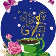 Offee cup, flowers and butterflies - Stock Vector