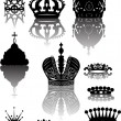 Stock Vector: Ten crowns with reflections
