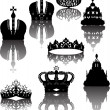 Eight crowns with reflections — Stock Vector