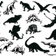 Set of dinosaurs silhouettes — Stock Vector