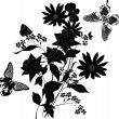 Bunch of black flowers with butterflies — Stock Vector