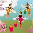Bee girls and flowers illustration — 图库矢量图片
