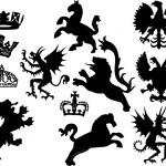 Heraldic symbol large set — Stock Vector