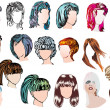 Nineteen woman modern hairstyles — Stock Vector