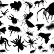 Stock Vector: Twenty five insect silhouettes