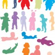 Royalty-Free Stock Vector Image: Rainbow baby silhouettes