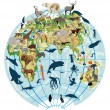 Earth globe with different animals — 图库矢量图片