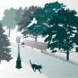 Royalty-Free Stock Vector Image: Walking cat in park