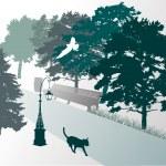 Walking cat in park — Stock Vector