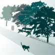 Green illustration with cat in park — Stock Vector