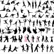 Danceres and sportsmen silhouettes - Stock Vector