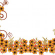 Small yellow flowers half frame — Stock Vector