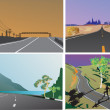 Four road landscapes collection — Stock Vector