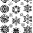 Set of black and gray snowflakes — Stock Vector