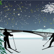 Two skiers under night sky — Stock Vector