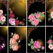 Roses in frames collection - Stock Vector