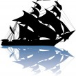 Yacht silhouette with reflection — Stock Vector