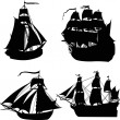 Set of four ship silhouettes - Vettoriali Stock 