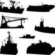 Set of mordern ships — Stock Vector