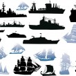 Set of black and blue ship silhouettes - Stock Vector