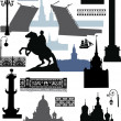 Stock Vector: Saint-Petersburg silhouettes collection