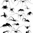 Nineteen spider silhouettes on white — Stock Vector