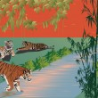Three tigers near river in forest — Stock Vector