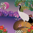 Crane in spring landscape — Stock Vector