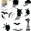 Bats and windmills isolated on white — Stock Vector #6417537