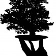 Royalty-Free Stock : Human hand and oak illustration