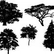 Five tree silhouettes — Stock Vector