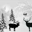 Deers in winter forest landscape - Stock Vector