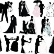 Wedding couple silhouette set — Stockvektor