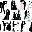 Wedding couple silhouette set — Stock vektor