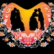 Wedding couples silhouette in red heart shape frame — Stock Vector