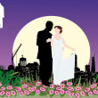 Wedding couple in night city — Vector de stock