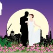 Wedding couple in night city — Stock Vector