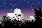 Astronomy observatory at nigth — Stock Vector