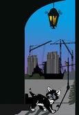 Small kitten in night city illustration — Stock Vector
