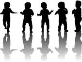 Five baby silhouettes with reflections — Stock Vector