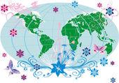 Země v květy ilustrační — Stock vektor