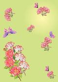 Flores em verde e rosa borboletas — Vetorial Stock