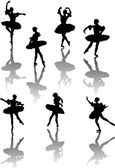 Seven ballet dancers with reflection — Stock Vector