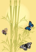 Bamboo and three color butterflies — Stock Vector